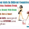 About Girls In Diffrent Countries
