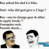 Boy asked his dad 4 a bike
