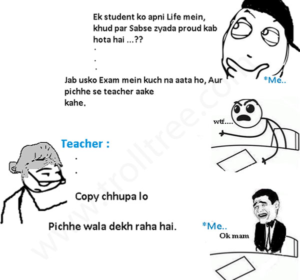 Student And Teacher Jokes at Exam Hall