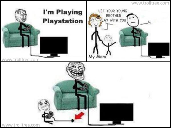 Playing Play Station with my little bro