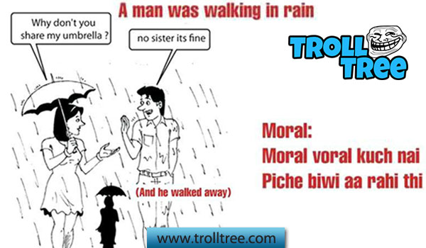 A Man Was Walking in Rain