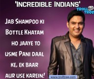 Kapil's Jokes on Shampoo Bottle