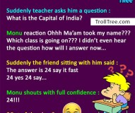 Monu and teacher Funny Jokes at TrollTree.Com